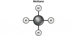 Gambar 2.12 Karbon dapat membentuk empat ikatan kovalen untuk membuat molekul organik. Molekul karbon yang paling sederhana adalah metana (CH4), digambarkan di sini.